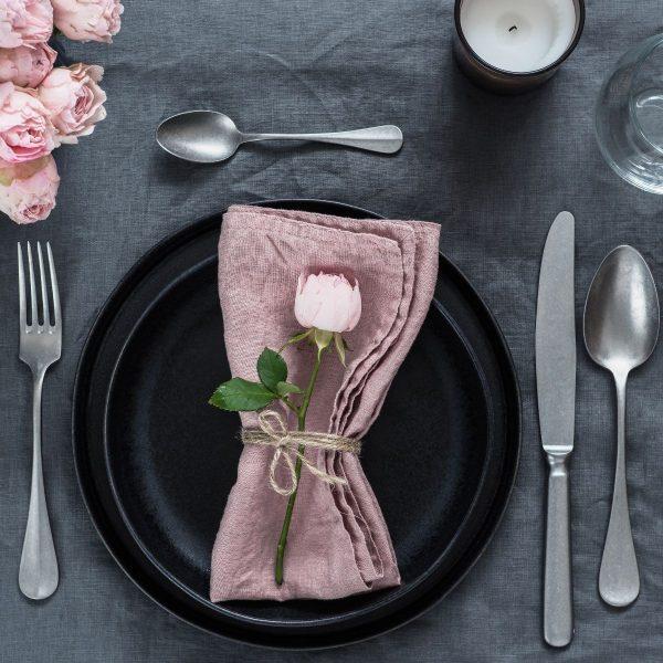 lniana serwetka pink rozowa