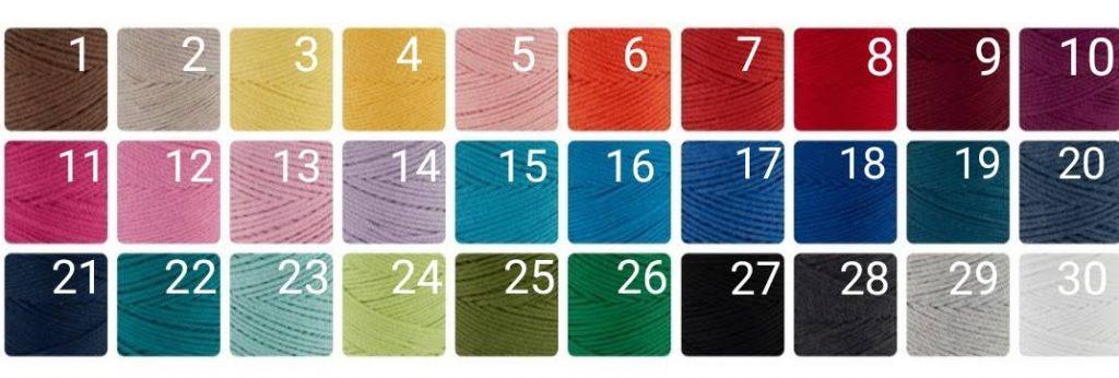 kolory podkładek ze sznurka